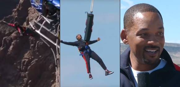 Will Smith jumps out of helicopter to celebrate 50th birthday
