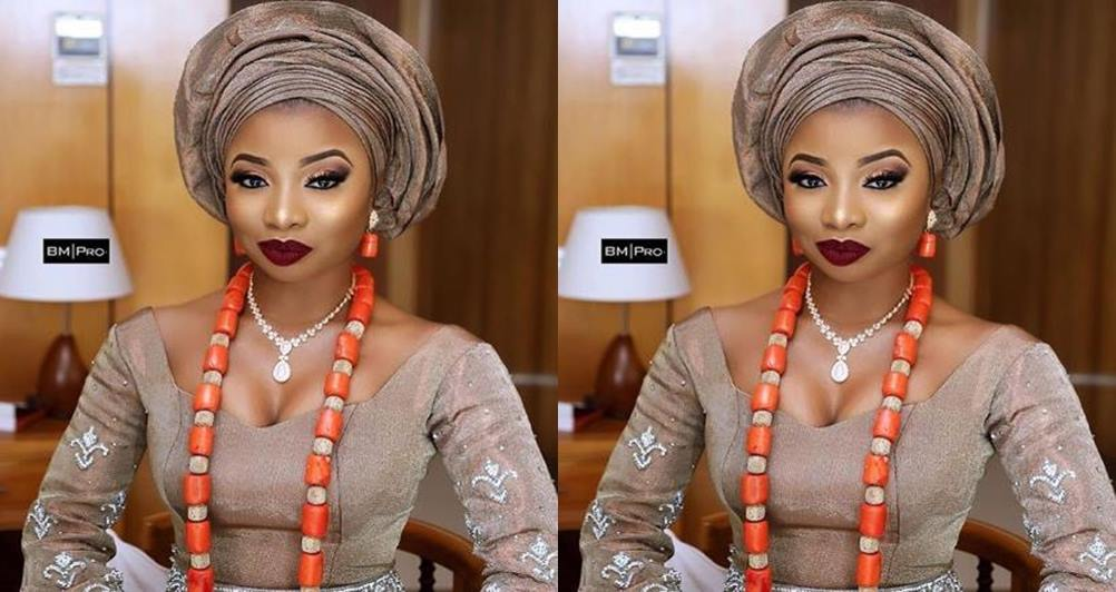 Beautiful photo of singer Mo'Cheddah's look at her traditional wedding in Lagos yesterday