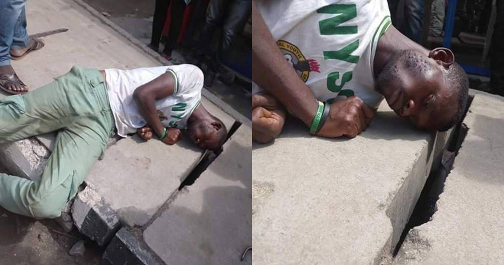 Corps member found unconscious on roadside in Lagos (Photos)