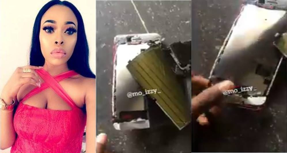 Lady destroys her iPhone 7plus after her boyfriend refused to buy her the latest iPhone (Video)