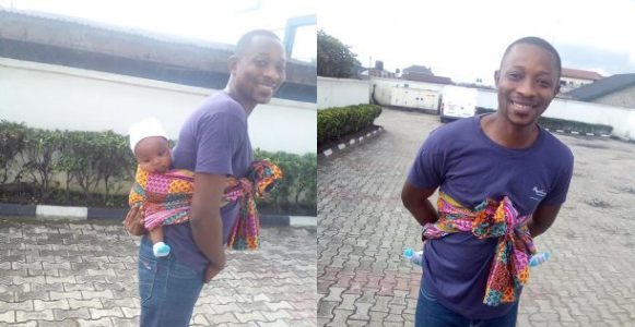 Nigerian man shares his experience, backing his child to the bank (Photos)