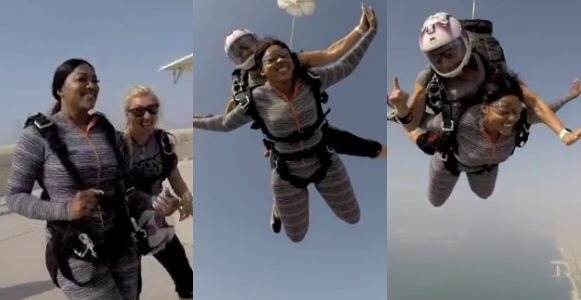 Rukky Sanda jumps from a plane as part of her 34th birthday celebration (Video)