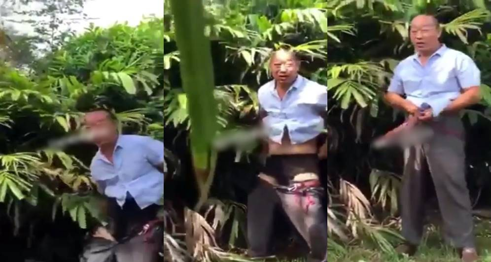 See what angry Ghanaians did to a Chinese man who was caught defecating in a garden (Video)