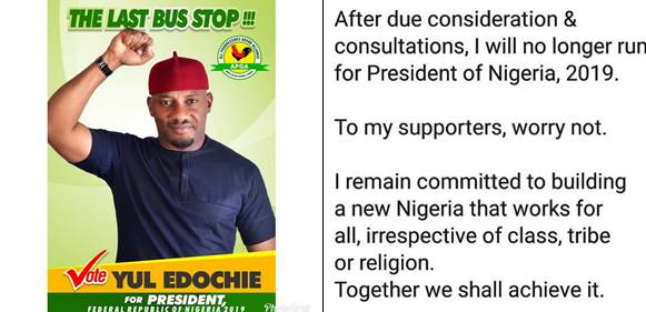 Yul Edochie withdraws from 2019 presidential race