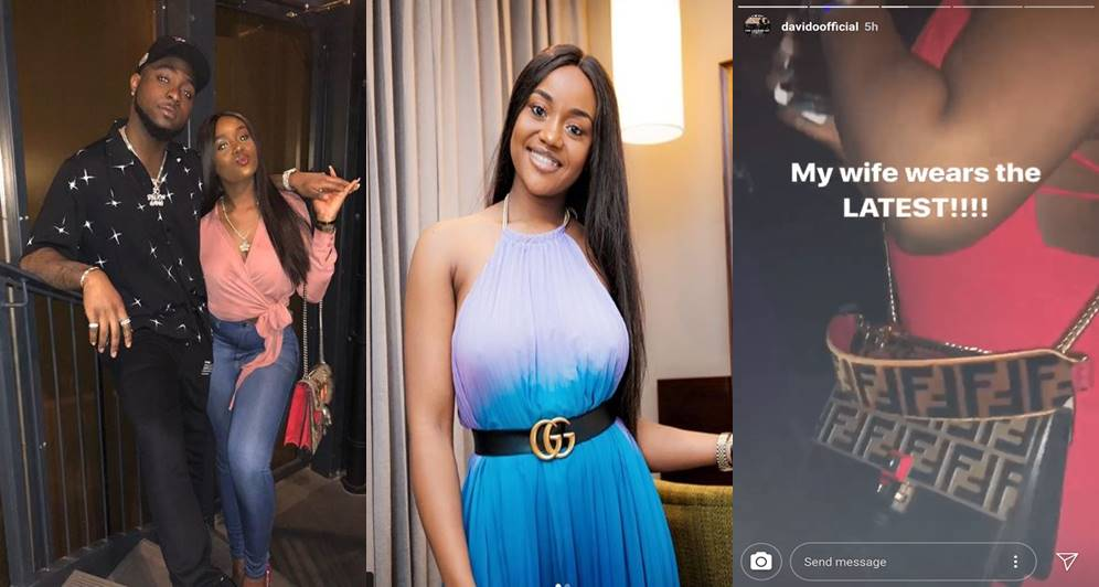 """""""My wife, Chioma wears the latest"""" - Davido says as he shows off Chioma's ₦827,000 Fendi Bag"""