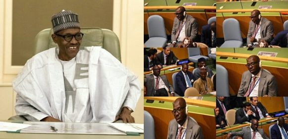 Edo State governor, Obaseki, sleeping at the 73rd UN General Assembly (Photos)