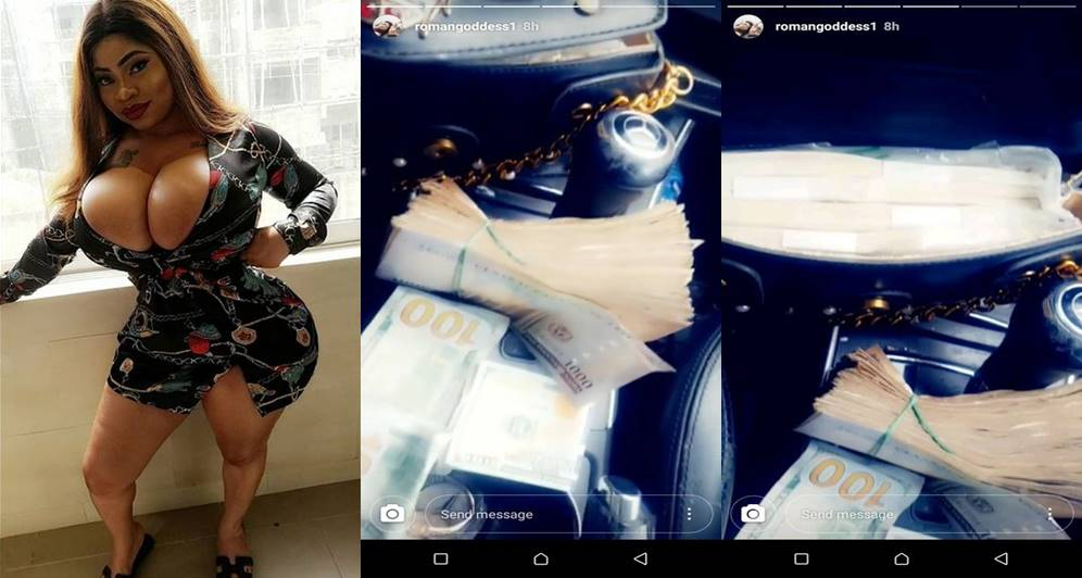 """Your Zaddy sent ₦1M naira to me"" – Roman Goddess says as she flaunts wads of cash (Photos)"