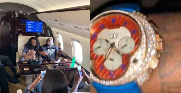 Davido flaunts his newly acquired over ₦9 million diamond encrusted wristwatch (Photos)