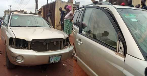Nigerian Man Cries Out After Burglars Strip His Car Naked (Photos)