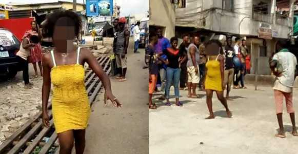 Young Lady Runs Mad After Allegedly Sleeping With A Married Man (Photos)