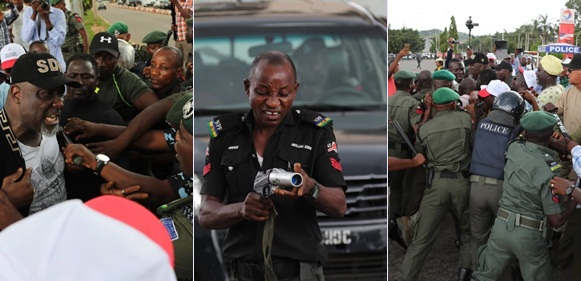 Photos From Dino Melaye's Clash With Police At Abuja Protest