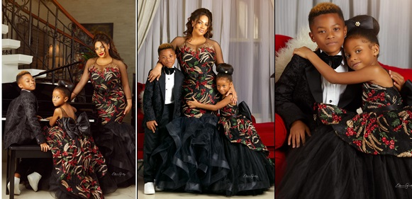 Peter Okoye's Wife Lola Omotayo In Family Portraits with Her Kids