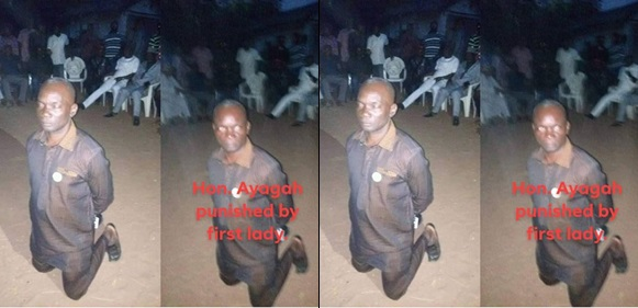 Local Government Chairman kneels down as an alleged punishment  after shouting APC at PDP rally