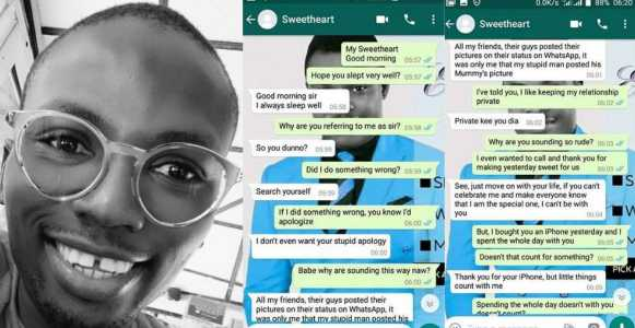 Nigerian man shares screenshots of chat with his girlfriend who broke up with him 24-hours after he bought her an iPhone