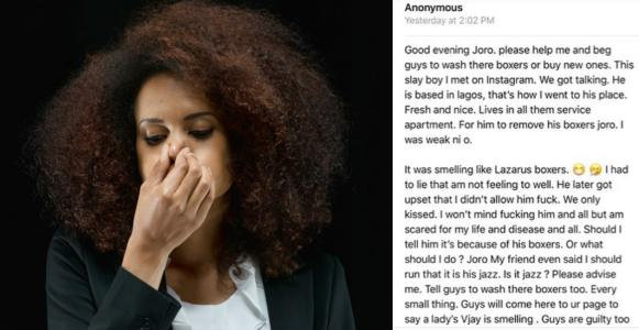 Lady shares her experience with a rich a guy with smelling boxers