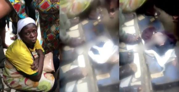 Nigerian lady tries to kill her baby after delivery inside a toilet (Video)