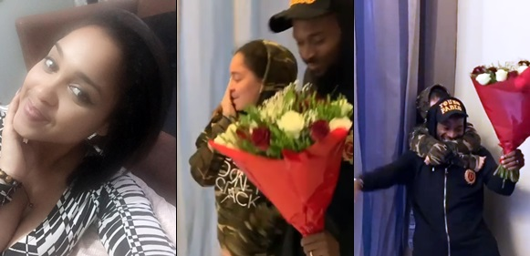 'Surprise all the way from africa'- Dbanj flies out to give his wife, Lineo, a surprise on Val's day