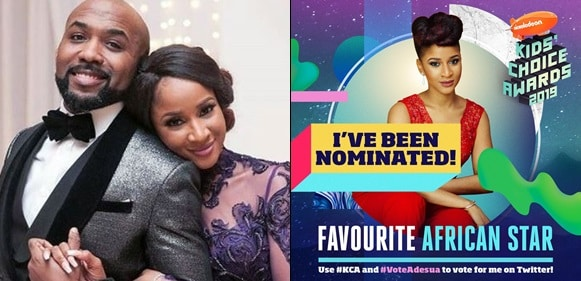 Banky W campaigns for his wife, Adesua Etomi after she was nominated at the Nickelodeon 2019 Awards